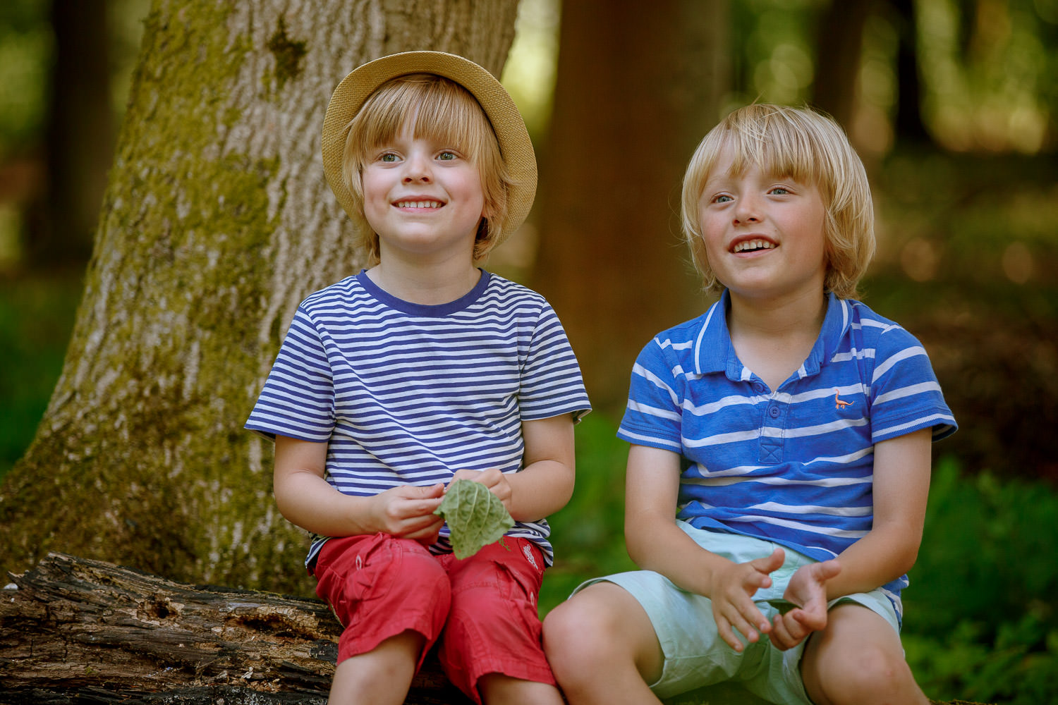 Family photoshoot of brothers in the forest in vibrance colours.