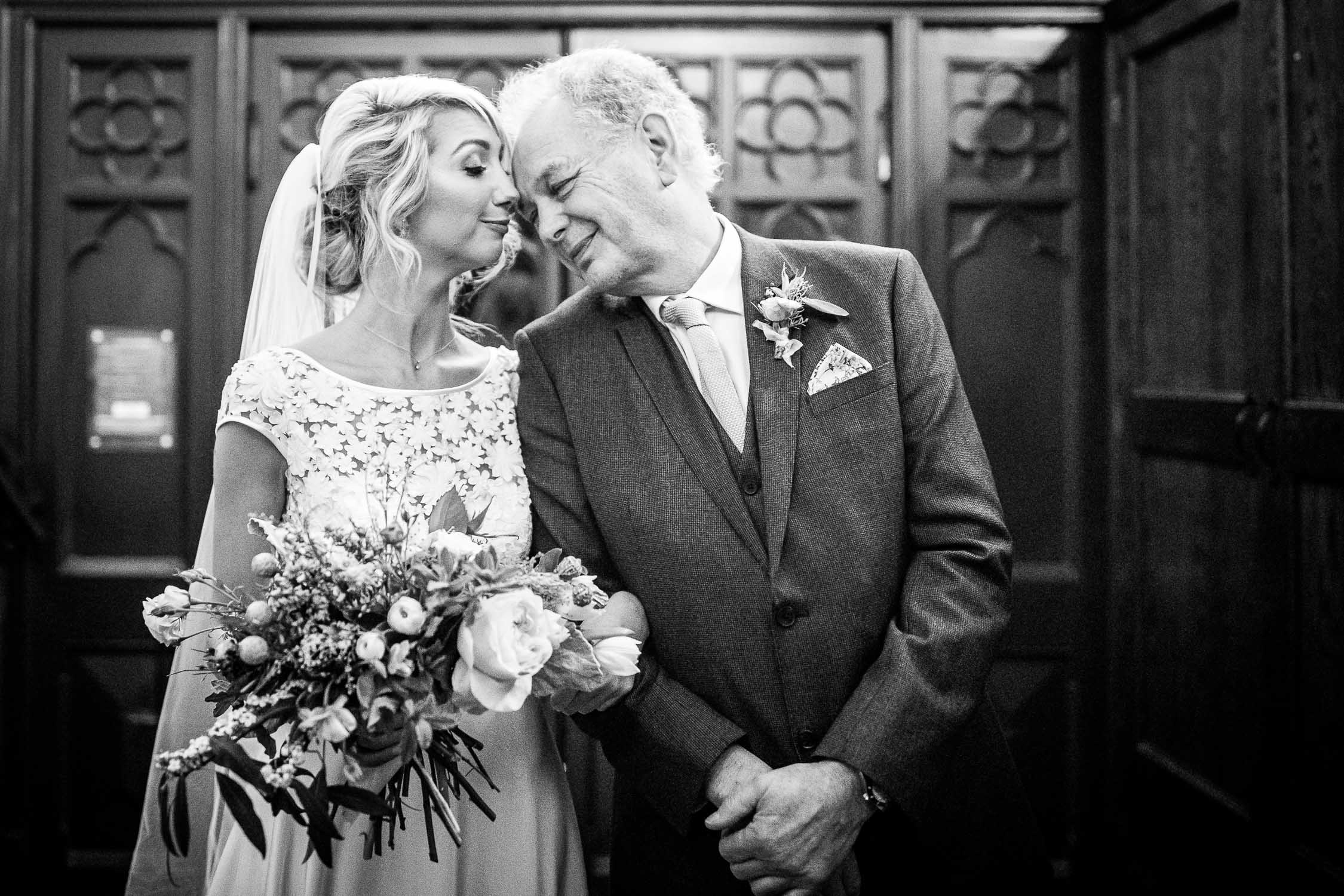 Bride and her father captured by London wedding photographer