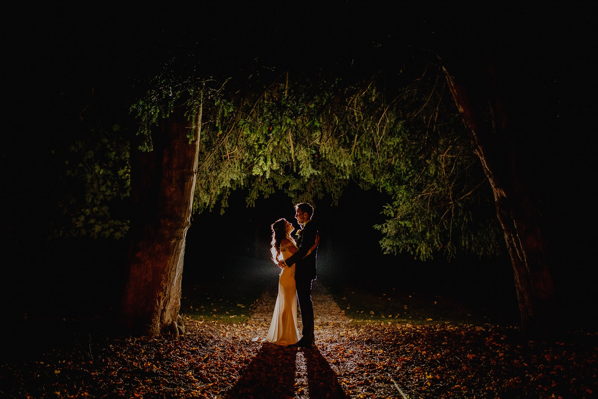 Night portrait of wedding couple standing under a tree.